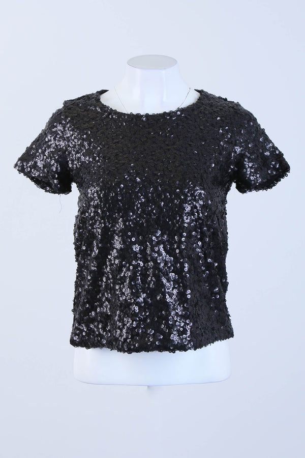 Sequined Short Sleeve Top