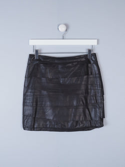 Layered Leather Mini Skirt