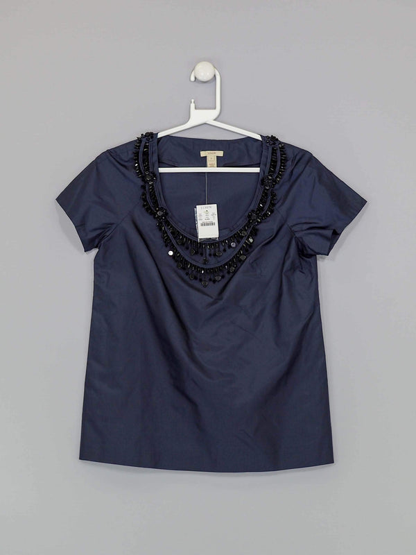 Navy Beaded Top