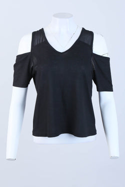 Sheer Ribbed Cold Shoulder Top