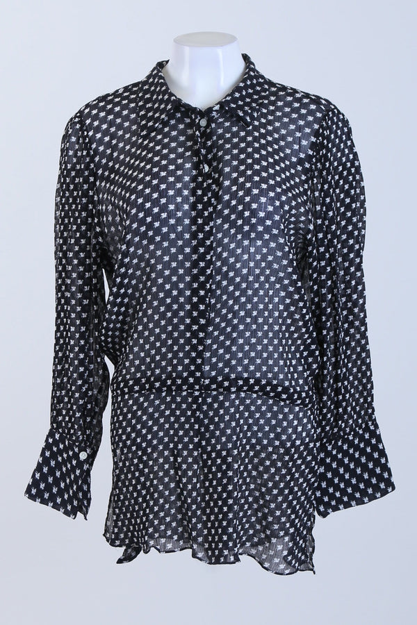 Patterned Sheer Tie Waist Blouse