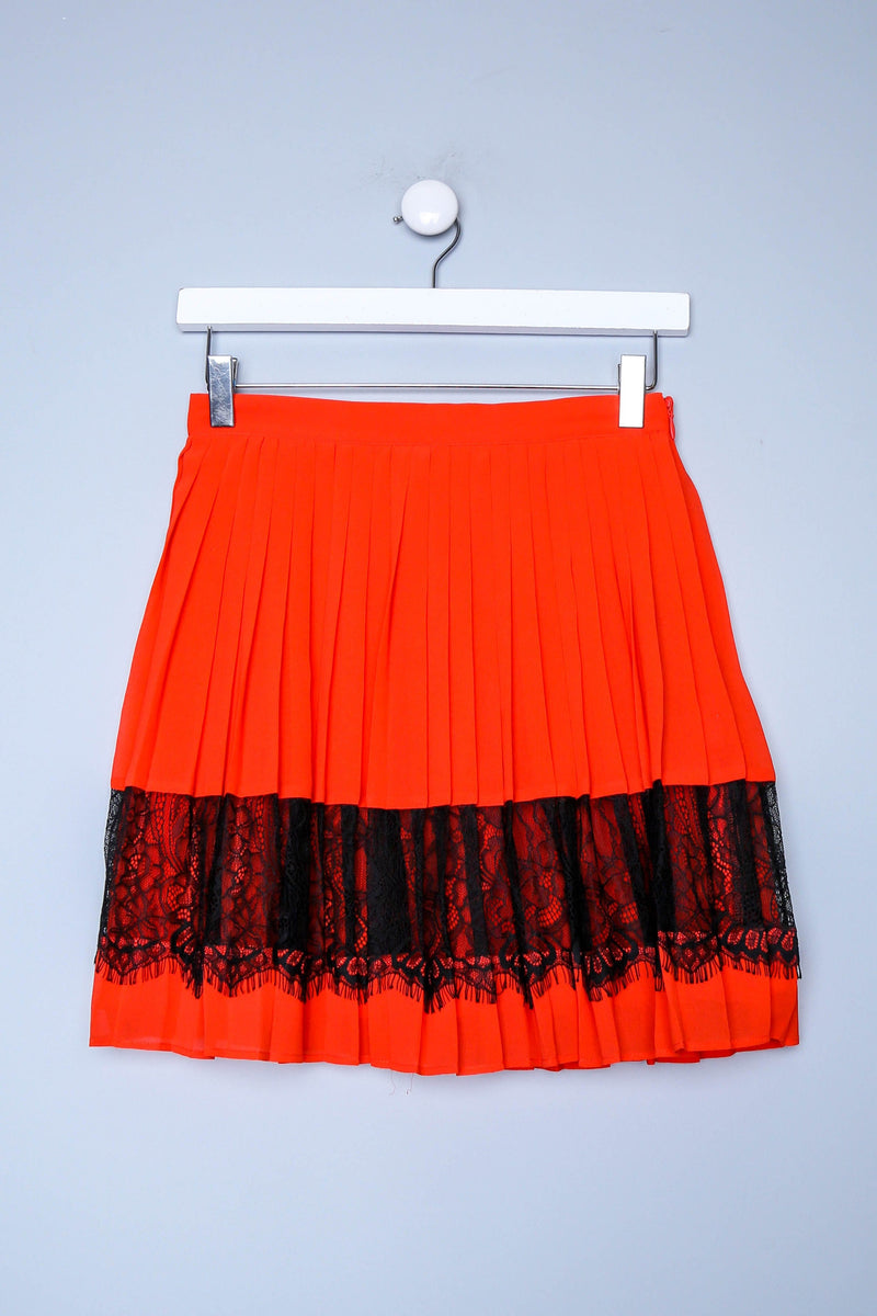 Mini Pleat Lace Detailed Mini Skirt