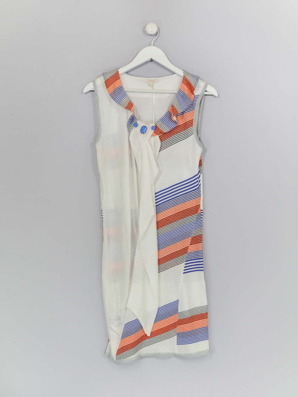 Sleeveless Knitted Dress with Sheer white Panel to Front
