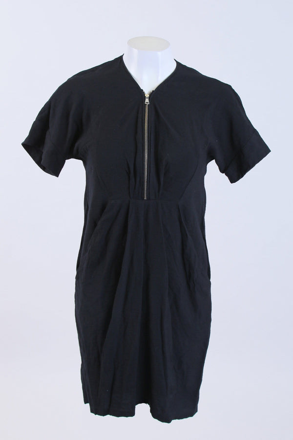 Short Sleeve Zip Up Dress