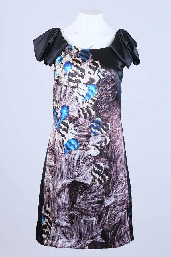 Feather Print Dress With Ruffled Sleeve