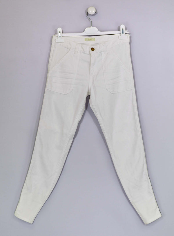 White Cropped Zip Ankle Jeans