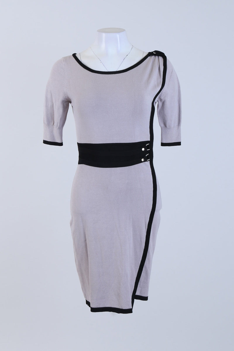Belted Round Neck Dress