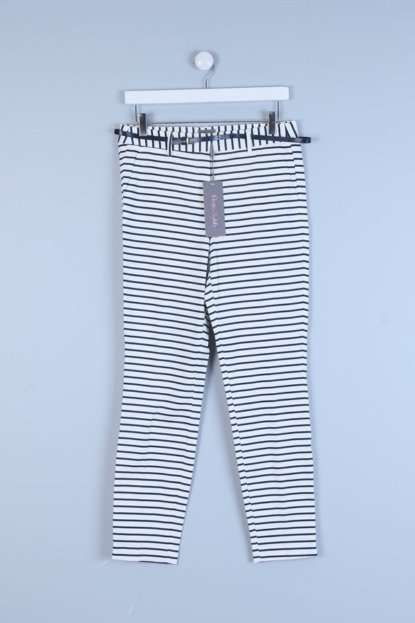 Belted Stripe Print Trousers