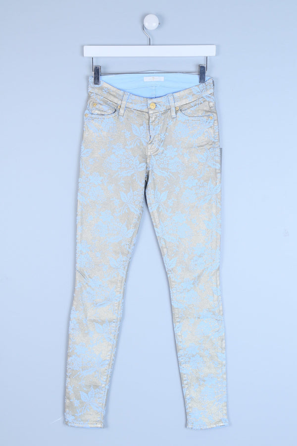Gold Floral Print Skinny Jeans