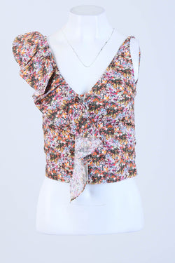 Floral Strappy Ruffle Front Zip Cropped Blouse