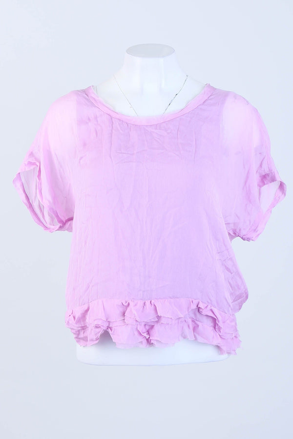 Sheer Ruffle Detailed Short Sleeve Blouse