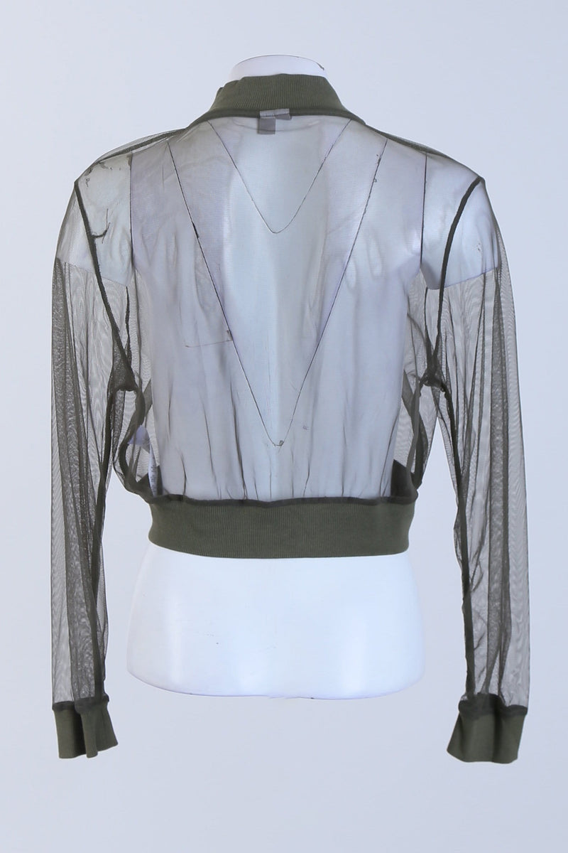 Front Zip Sheer Cropped Jacket