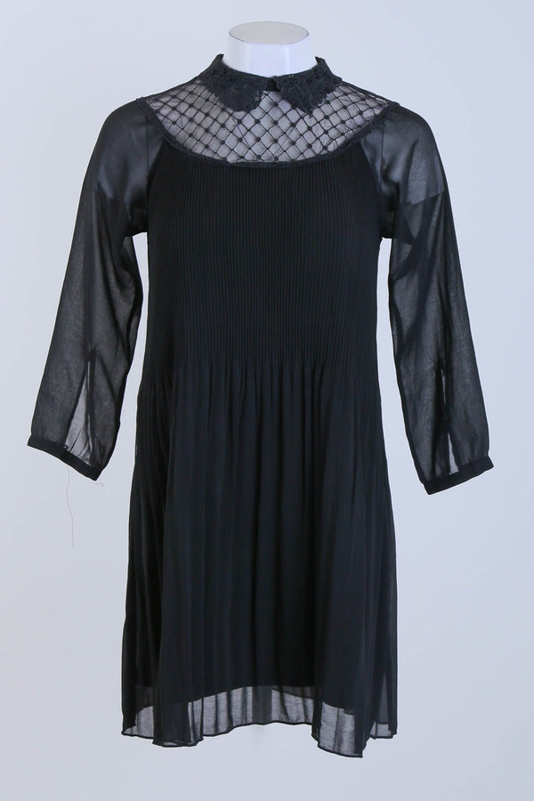 Shift Dress With Sheer Neck Detail  & Sleeves