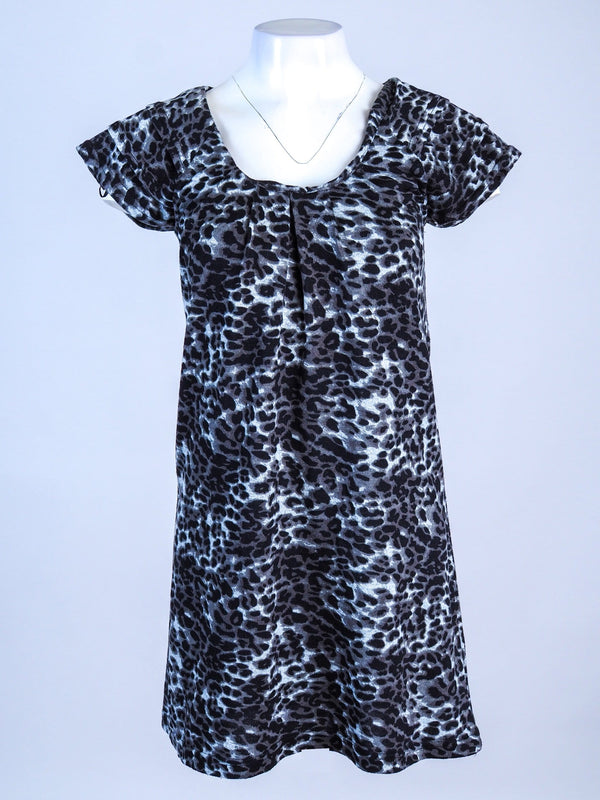Scoop Neck Leaopard Print Mini Dress