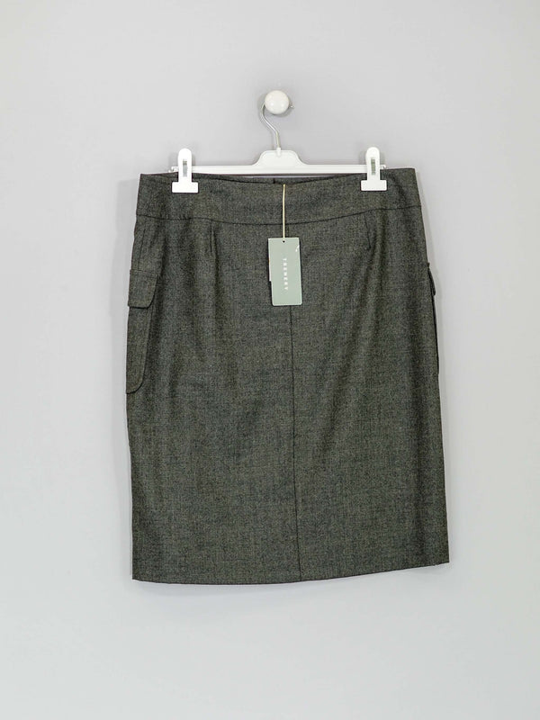 Grey Flannel Knee Length Skirt - New With Tags