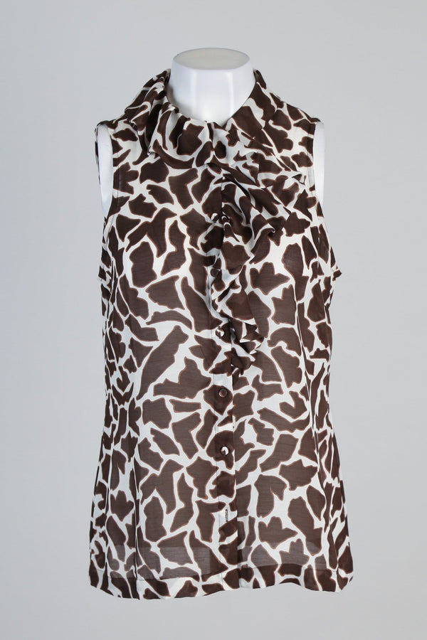 Giraffe Print Ruffle Detailed Sheer Shirt