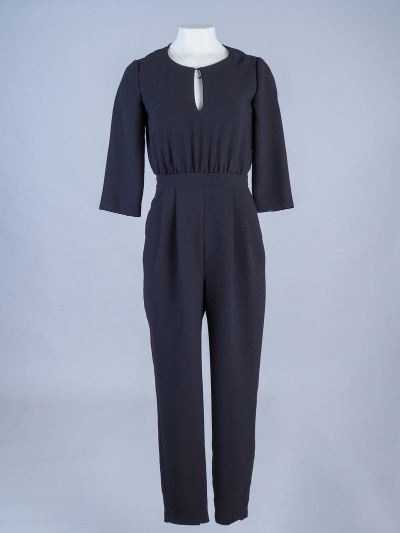 Key Hole Neck Jumpsuit With Gathered Hem Detail