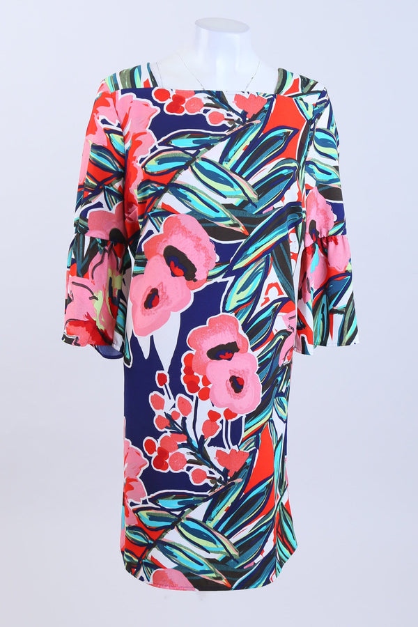 Patterned Bell Sleeve Dress