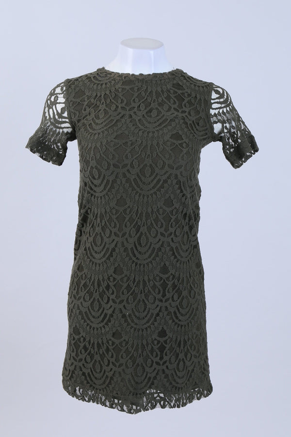 Short Sleeved Lace Shift Dress