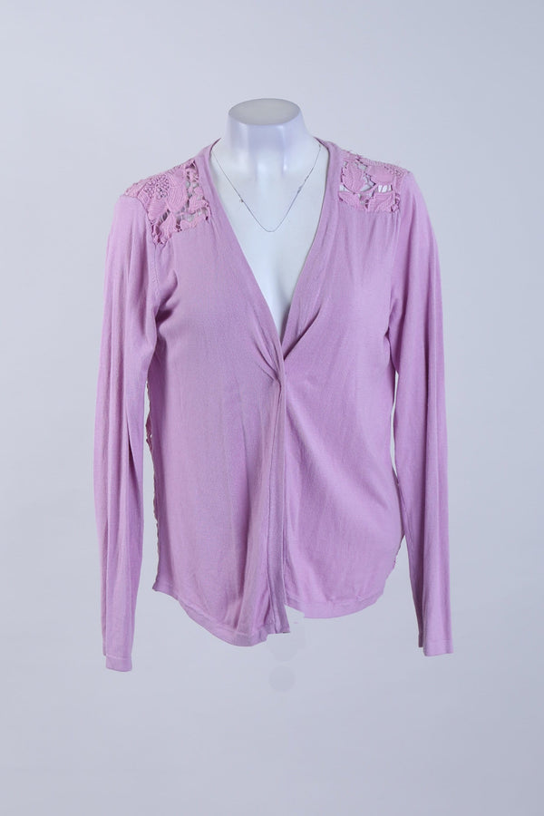 Mesh Detailed Buttonless Cardigan