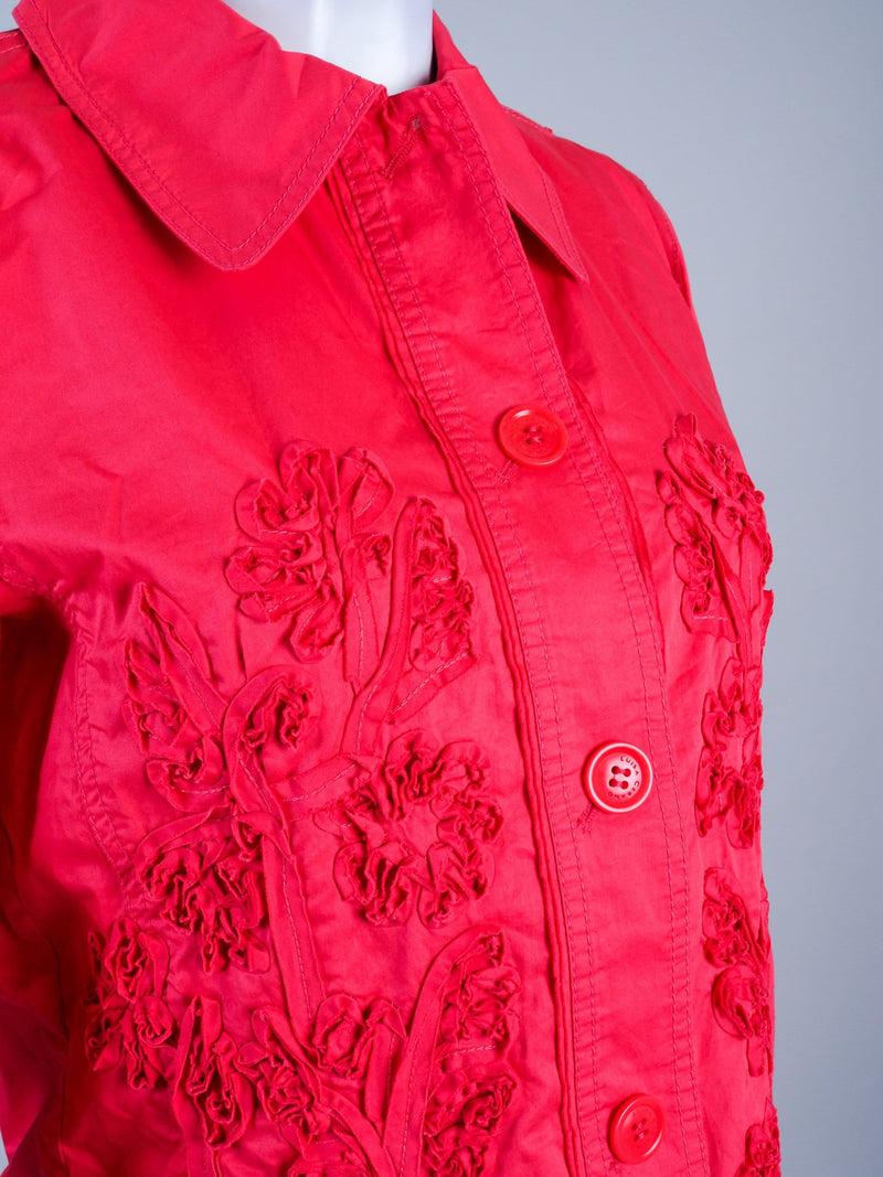 Coral Jacket With Floral Detail
