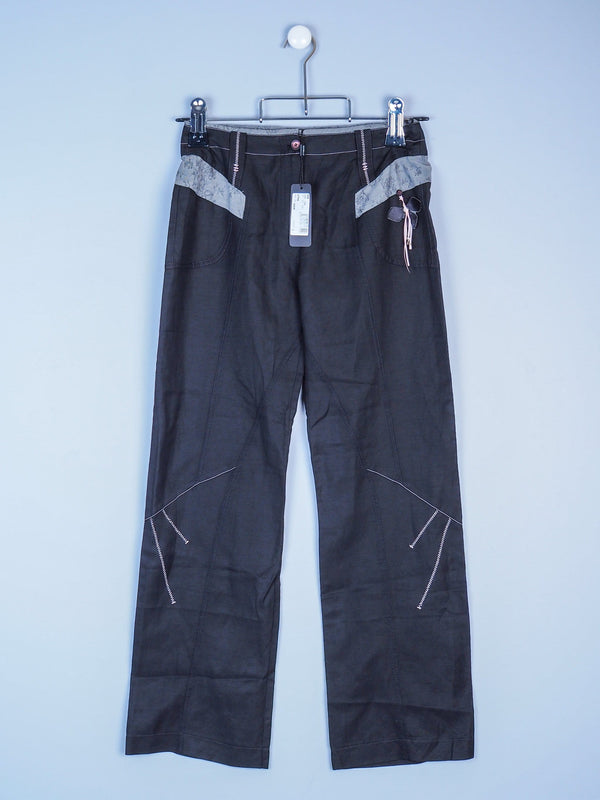 Trousers With Stitching & Floral Detail