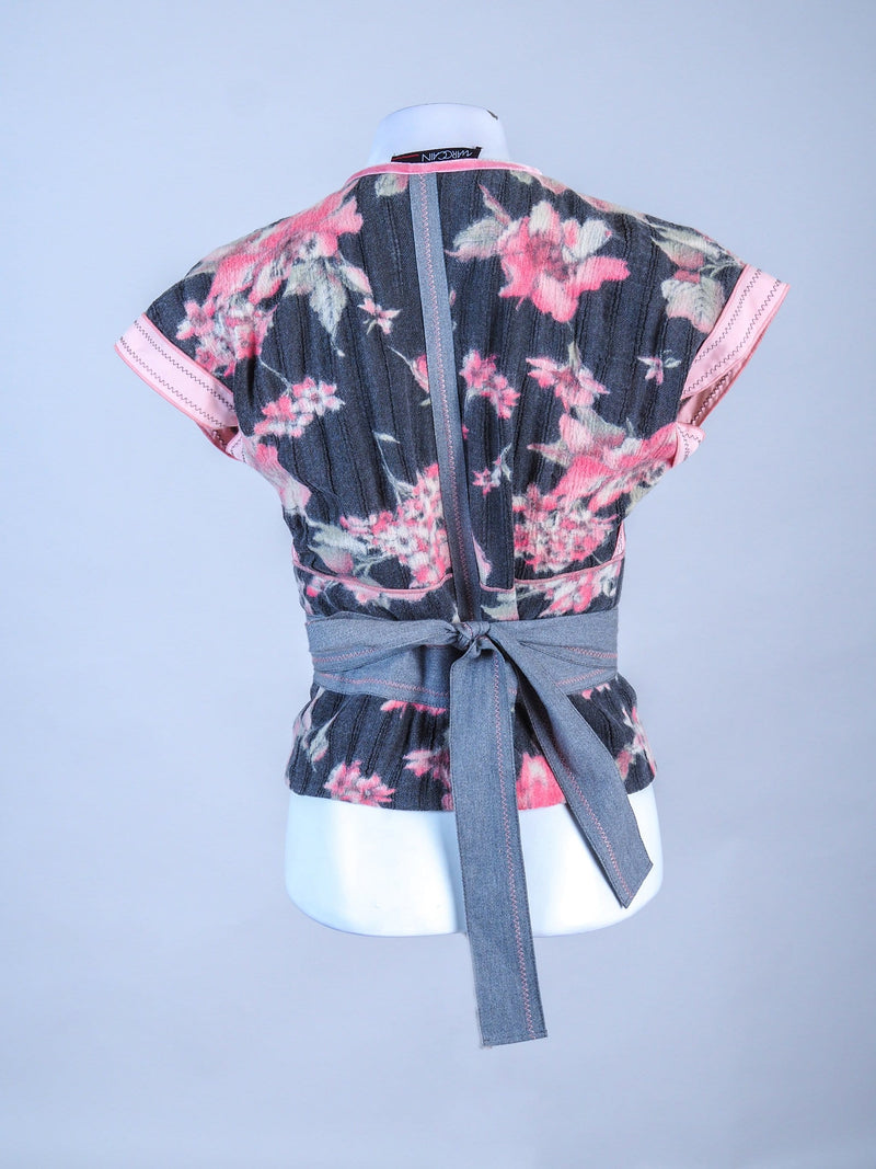 Floral Detailed Wrapped Waist Coat