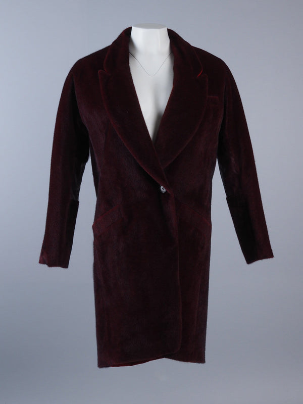 Faux Fur Coat With Velour Back Panel