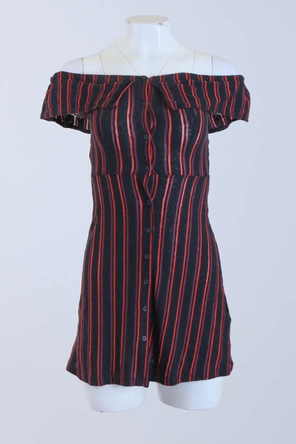 Striped Bardot Button Detailed Skater Dress