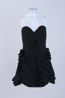 Strapless Detailed Frilled Front Mini Dress