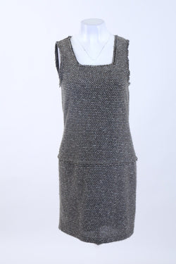 Square Neck Knitted Mini Dress