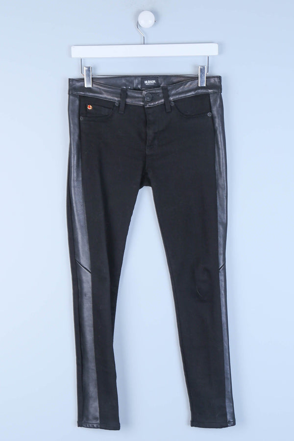 Super Skinny Crop Jeans With Faux Leather Side Panels & Waistband