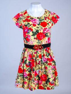 Floral Print Sleeveless Belted Dress