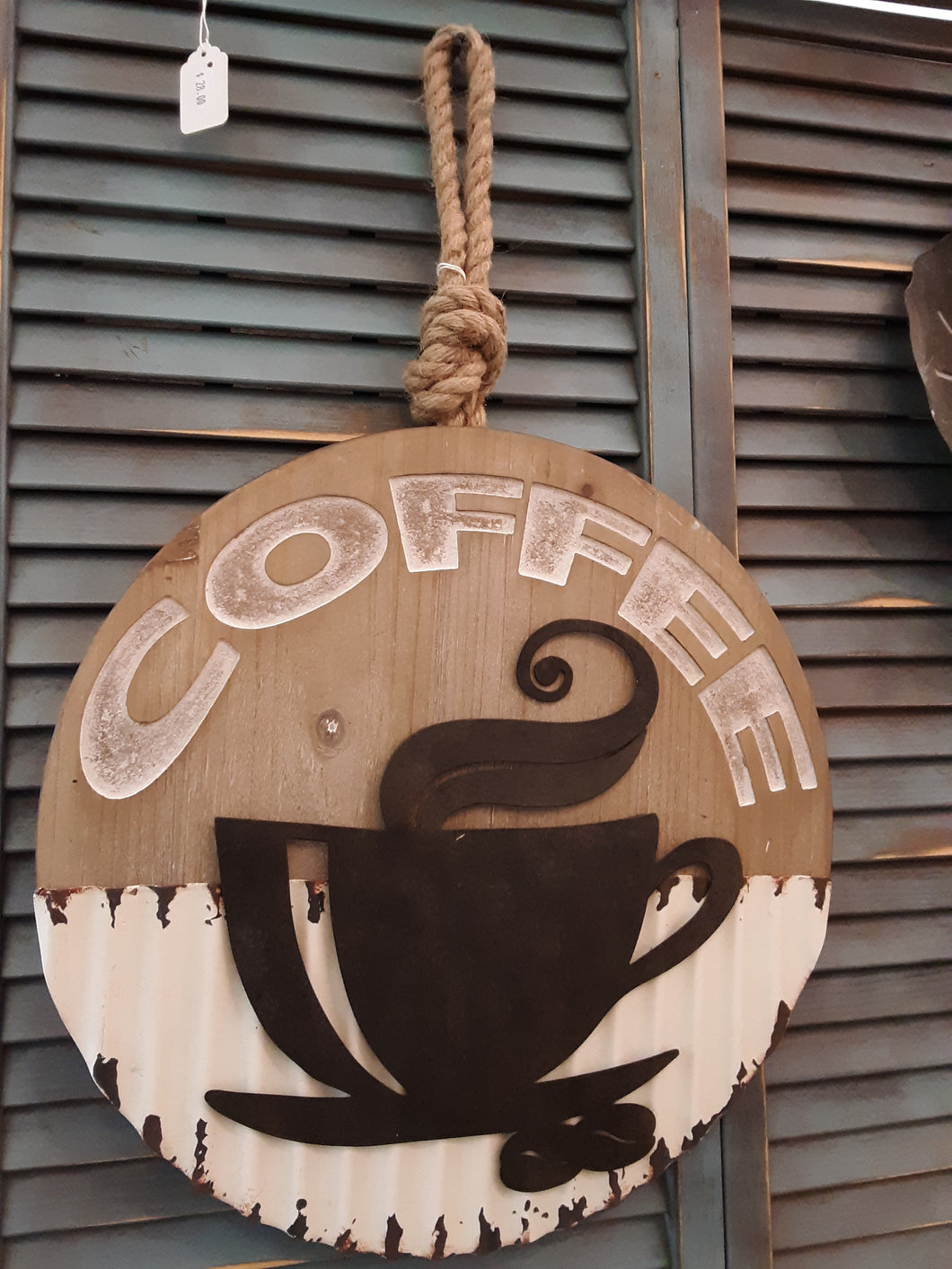 Coffee sign on rope