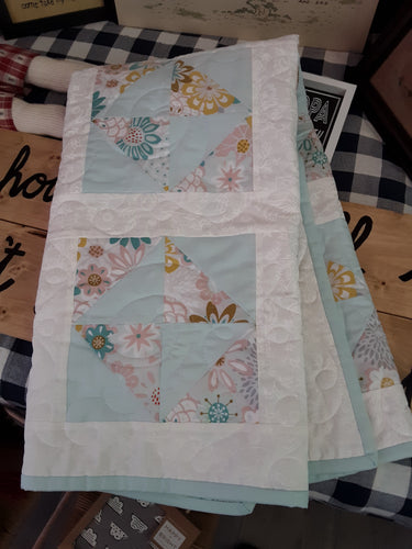 hand made baby quilted throw
