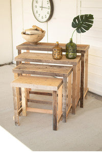 set of four rustic recycled wood console display tables