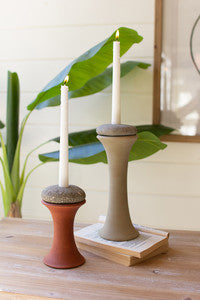 set of 2 clay and river rock taper candle holders