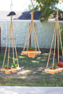 terracotta pots with recycled wood & jute hangers