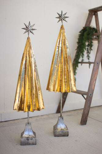 gold metal trees with silver star