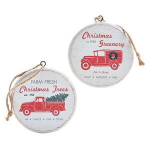 HOLIDAY DELIVERY TRUCK DISC ORNAMENT