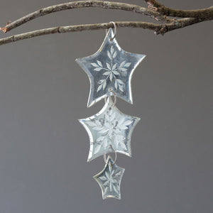 Antique Mirror Star Triple Drop Ornament