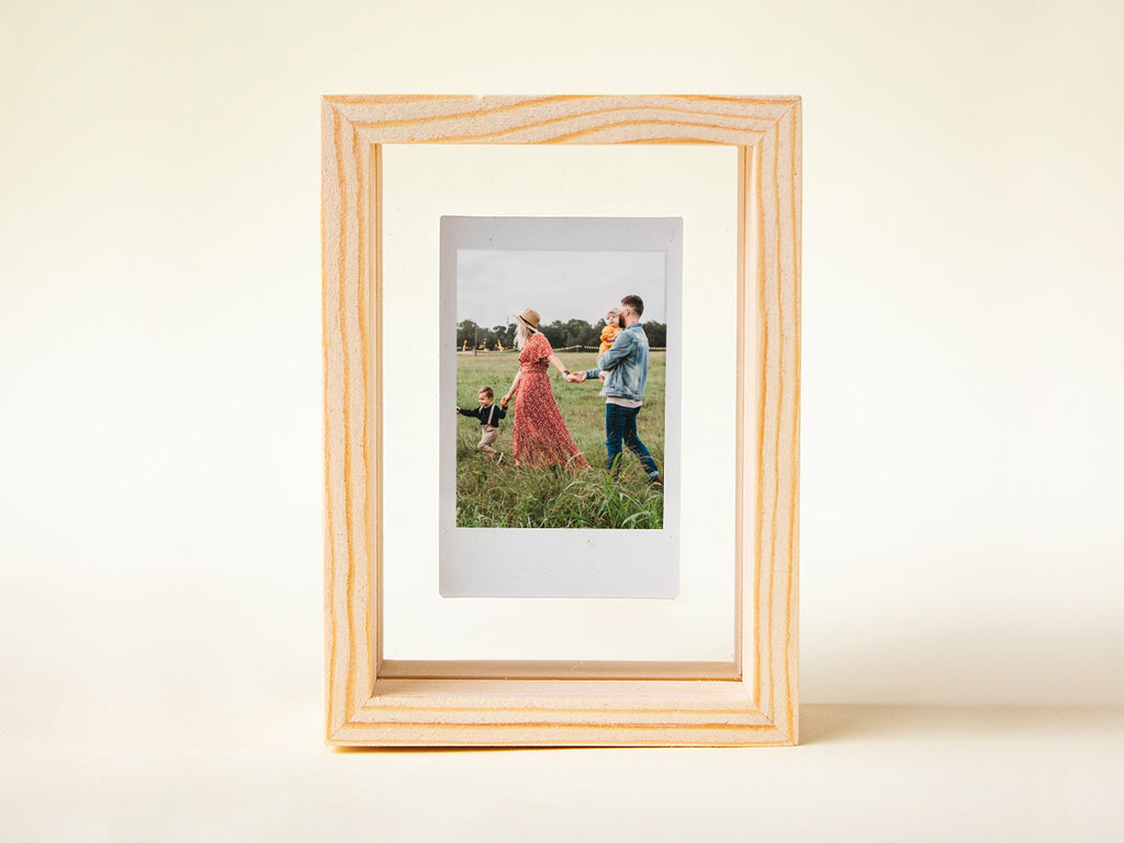 Wooden photo frame and Instax photo in a NZ gift box