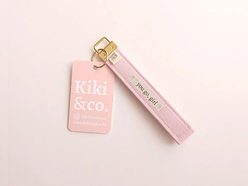 "Linen key chain wristlet - ""you go, girl"""