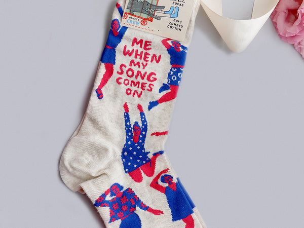 When my song comes on quirky gift socks nz