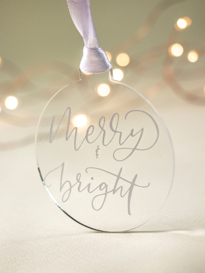 Hand-lettered Christmas bauble NZ