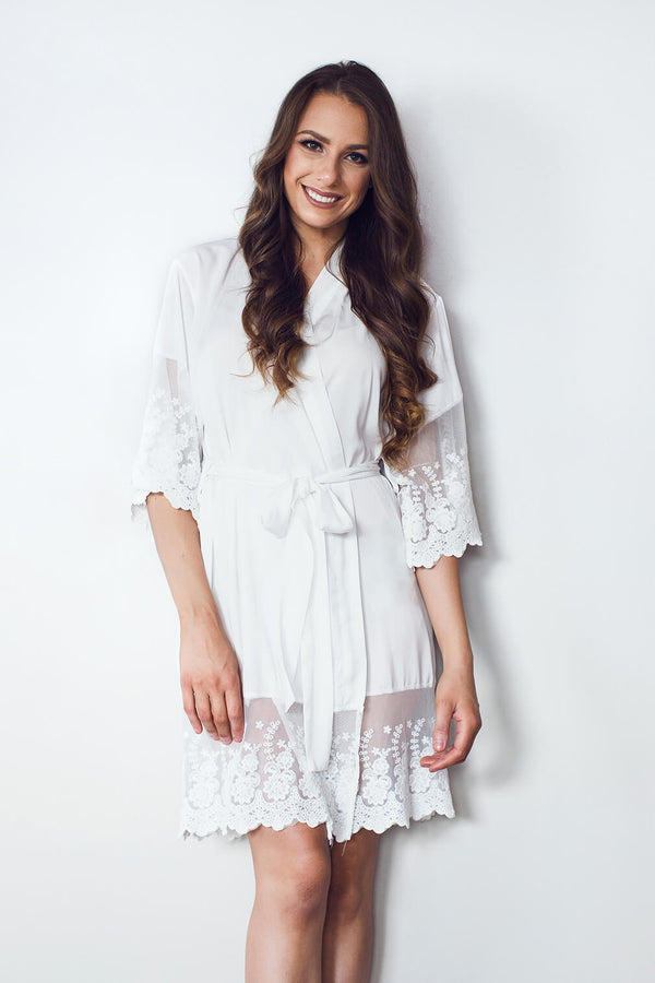 Bride robe NZ with white lace