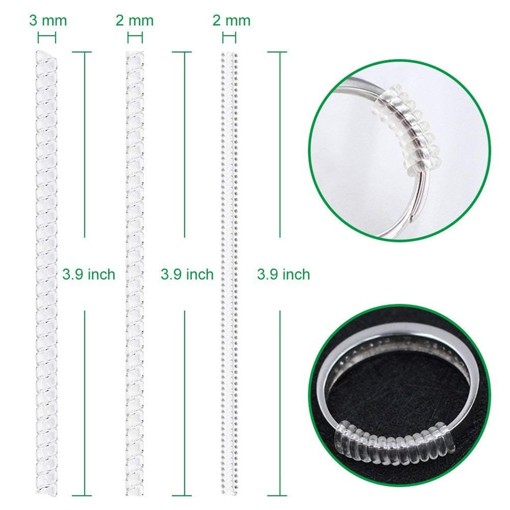 15pcs Ring Size Adjuster with 3 Sizes Clear Ring Sizer Resizer