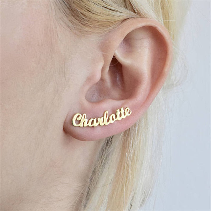 1Pairs Handmade Custom Name Plate Earrings For Women