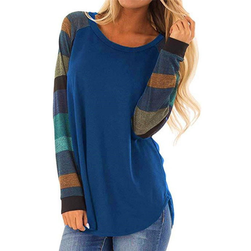 Women Stripe Patchwork Casual Tops Shirt
