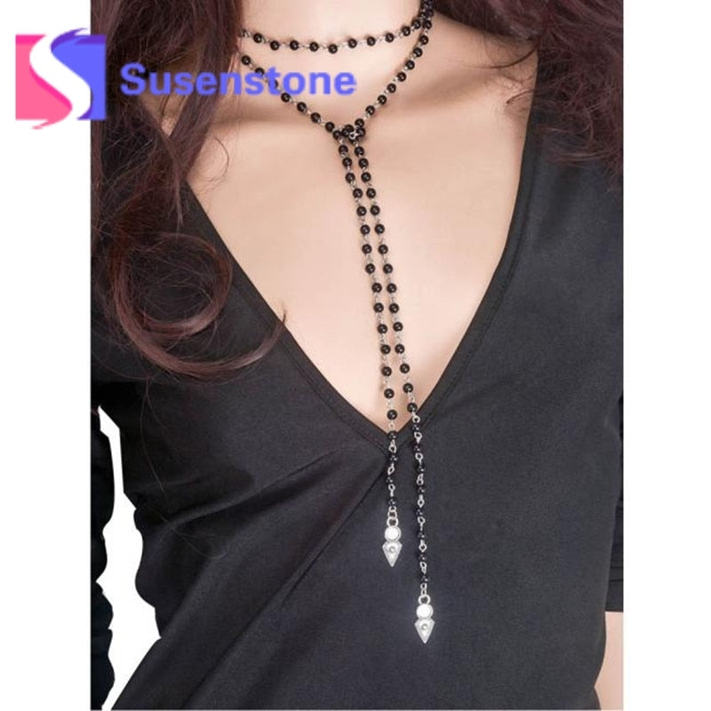 Gothic Punk Style Simulated Pearl Necklace